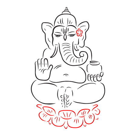 hindu god ganesha ganapati vector hand drawn illustration meditation in lotus pose