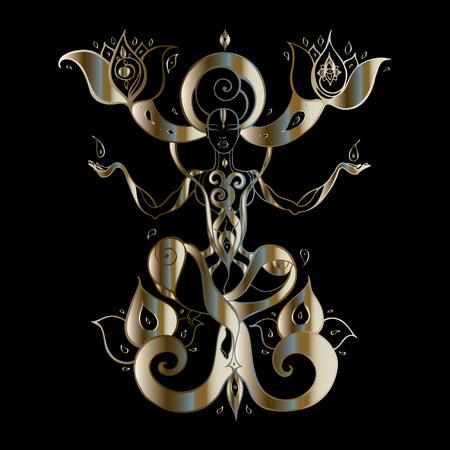 Yoga Silhouette. Hand drawn vector illustration. Meditation in lotus pose Padmasana