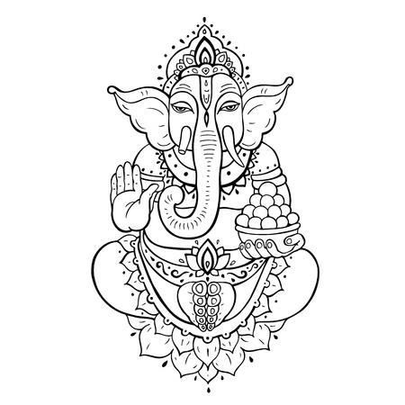 Ganapati meditation in lotus pose vector illustration