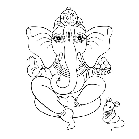 Ganapati meditation in lotus yoga pose sketch religion symbol