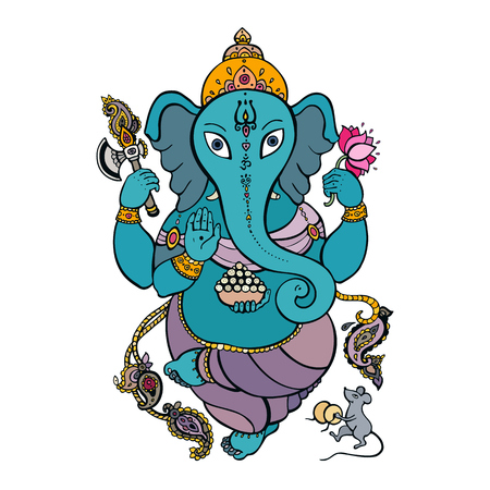 Ganapati meditation in lotus yoga pose for religion symbol