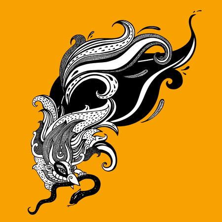 Garuda bird hand drawn illustration myth iconic symbol Ilustração