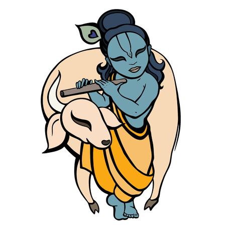 Hindu God Krishna playing flute behind bull religion symbol vector illustration