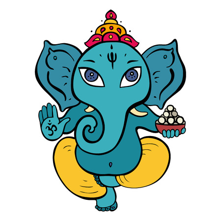 Hindu God Ganesha. Hand drawn tribal style. Vector illustration. Illustration