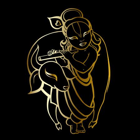 Hindu God Krishna in black illustration. 일러스트