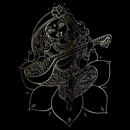 Hindu Goddess Saraswati. Vector hand drawn illustration.