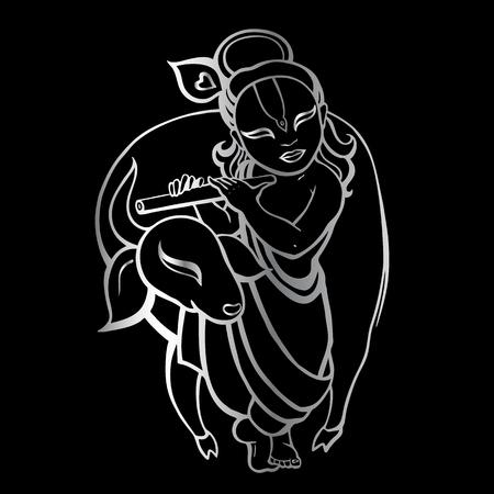 ヒンドゥー教の神クリシュナ。ベクトルは手描き下ろしイラストです。