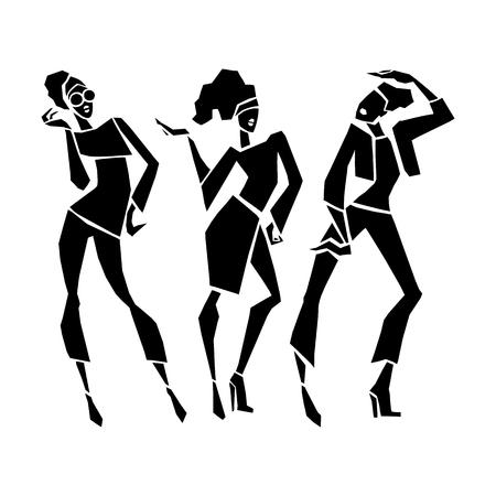 Silhouette fashion girls. Vector illustration.