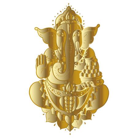 Golden Ganapati Meditation in lotus pose Illustration