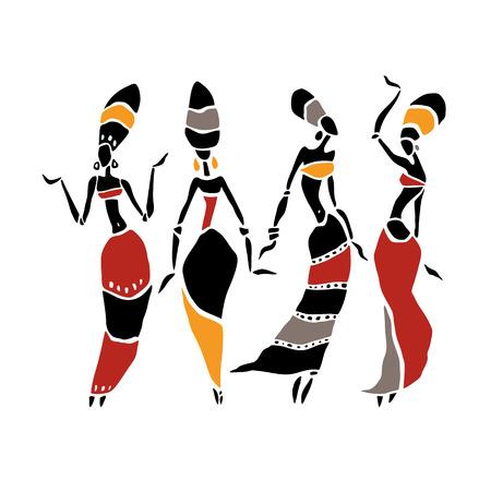Silhouette der Frau. Afroamerikanische Frau getrennt auf Weiß. Tanzende Frau im traditionellen ethnischen Stil. Vektor-Illustration.