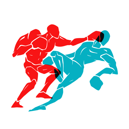 Silhouette of two professional boxer. Boxing match. vector illustration on white background Illustration