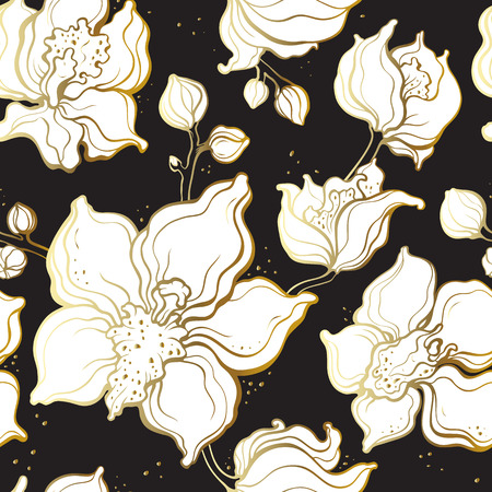 Floral pattern with Orchids. 矢量图像