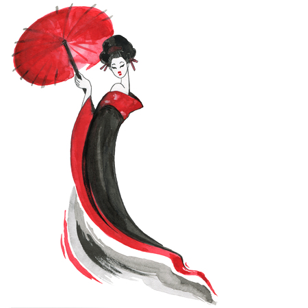 Geisha. Chinese style. Watercolor hand painting illustration