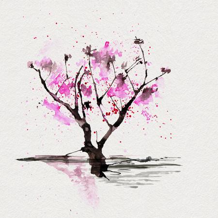 Sakura tree in Japanese style. Watercolor hand painting illustration