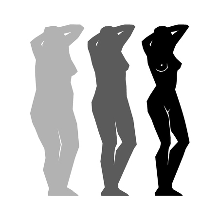 Silhouette Fat and slim girls.