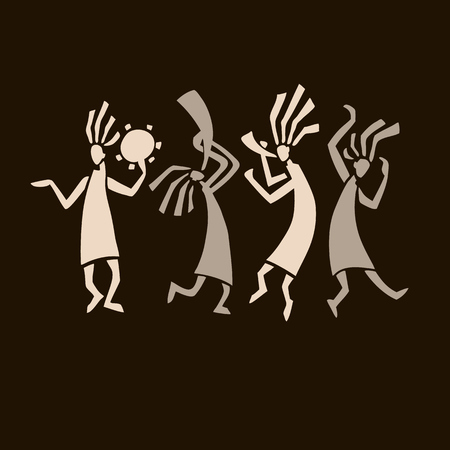 Silhouette of musicians and dancers