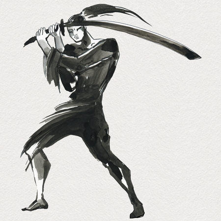 Silhouette Samurai. Chinese style. Watercolor hand painting illustration Stock Photo