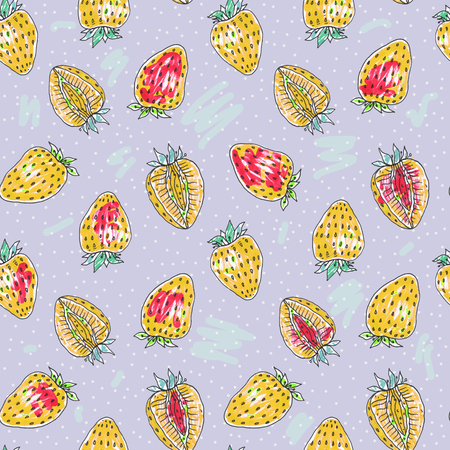 Strawberry seamless pattern. Tropical background
