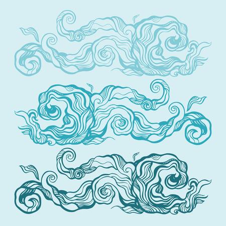 Ocean waves set, Hand drawn illustration
