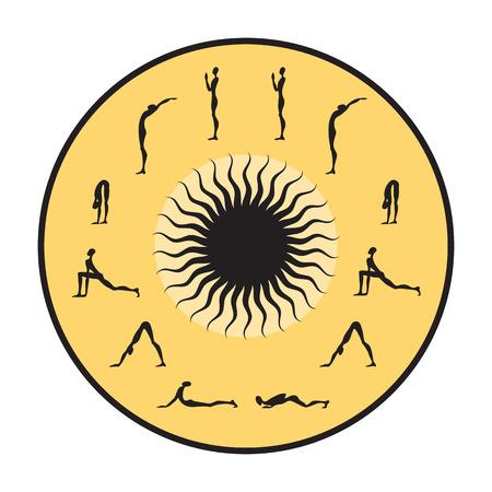 Surya Namaskar set, Salutation the Sun vector illustration
