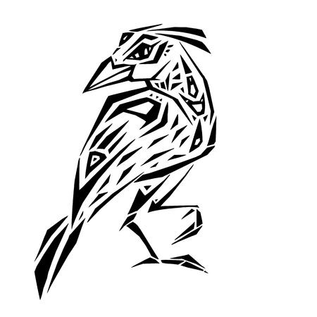 Crow in ethnic style Ilustracja