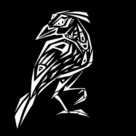 Crow in ethnic style illustration on black background.