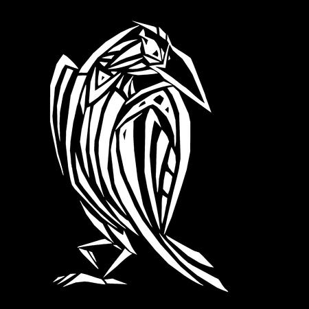 Crow in ethnic style Stock Illustratie