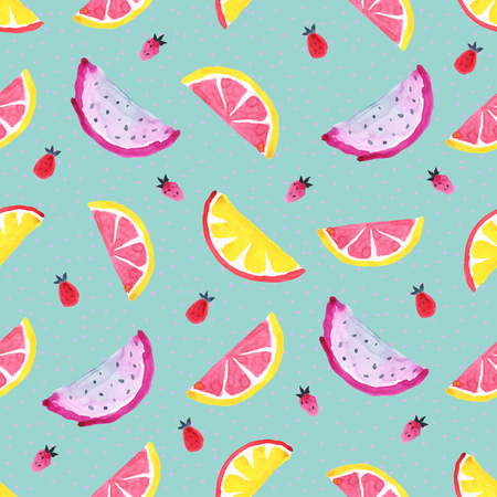 Tropical pattern of exotic fruit. Abstract Seamless background Stock Photo