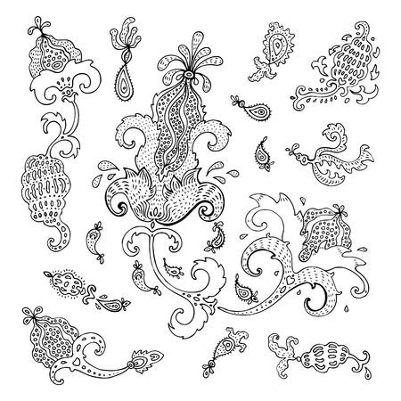 Paisley. Ethnic ornament. Vintage vector set Illustration