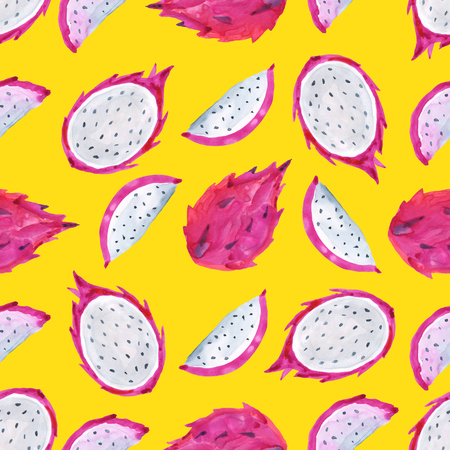 Pitaya. Tropical pattern of exotic fruit. Watercolor Seamless background Stockfoto