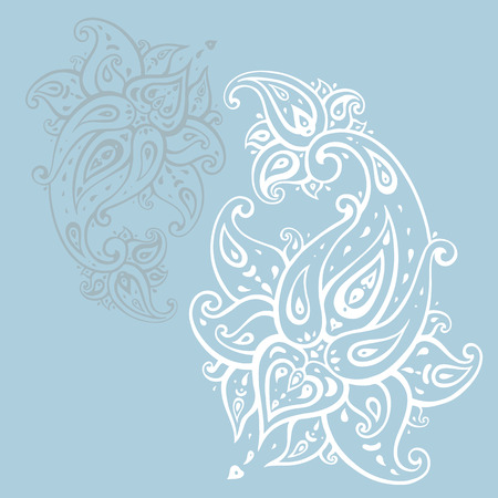 Paisley in blue backdrop Hand Drawn ornament