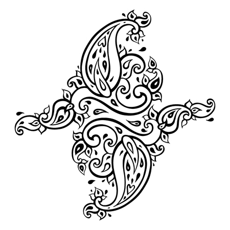 Paisley Ethnic ornament Vector illustration isolated Ilustração