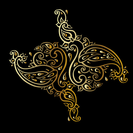 Paisley Ethnic ornament Vector illustration in gold and black colors