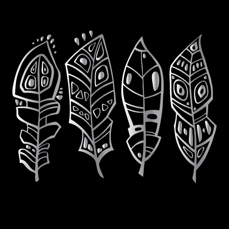Ethnic Feathers Set in Hand drawn vector illustration.