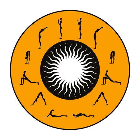 Surya Namaskar set, Salutation the Sun Illustration