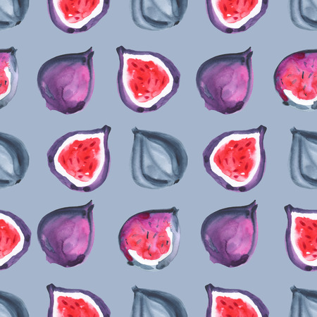 Figs. Tropical pattern of exotic fruit. Watercolor Seamless background
