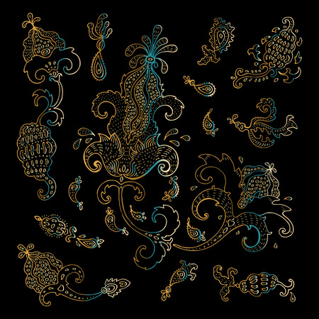 Fantasy paisley set. Hand Drawn Floral ornament Vector hand drawn elements