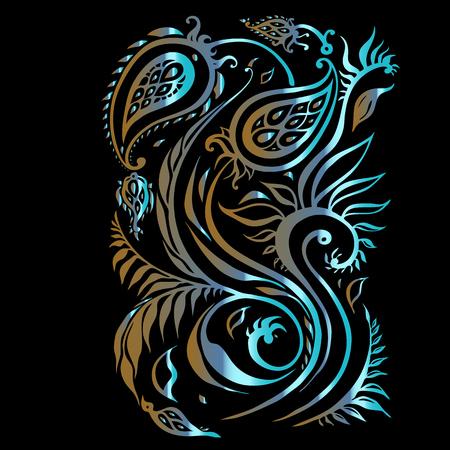 Hand drawn ethnic paisley ornament design illustration.