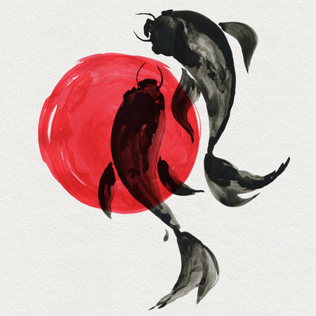 Koi fishes in Japanese style. Watercolor hand painting illustration Stock Photo