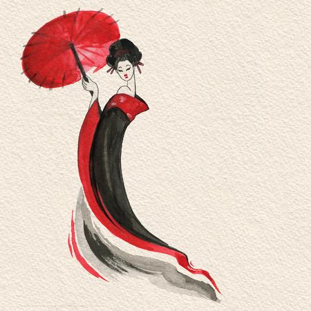 Geisha. Vrouw in traditionele kleding. Japanse stijl
