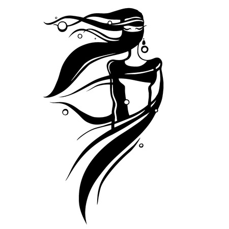Eastern woman Silhouette. Hand drawn Vector Illustration