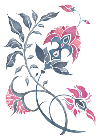 Watercolor Hand Drawn Abstract Flower