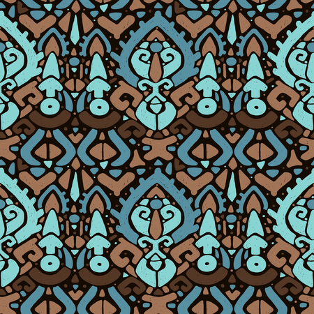 Ikat ornament. Tribal pattern in Aztec style. Hand Drawn folklore seamless pattern. Can be used for wallpaper, website background, textile, phone case print