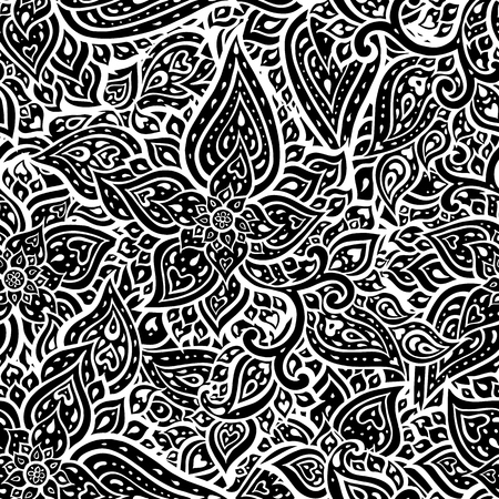 Seamless Paisley vintage background. Elegant Hand Drawn vector pattern.