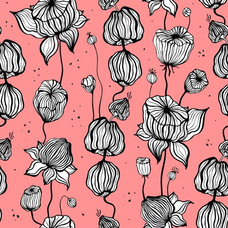Vintage Victorian pattern with hand drawn leaves. Seamless ornament. Can be used for wallpaper, website background, textile, phone case print