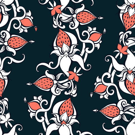 Paisley background. Vintage pattern with hand drawn Abstract Flowers. Seamless ornament. Can be used for wallpaper, website background, textile, phone case print Illustration