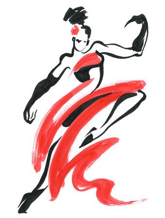 Flamenco. Beautiful Dancing Woman