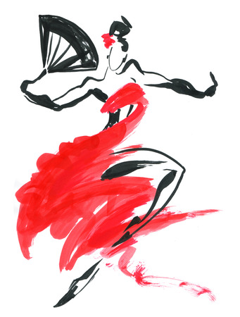 Flamenco. Beautiful Dancing Woman