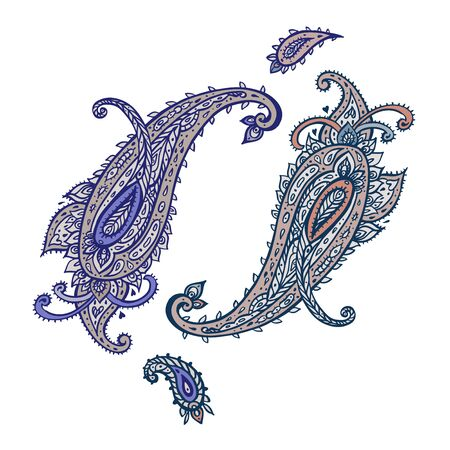 Paisley Ethnic ornament. Vector illustration white isolated