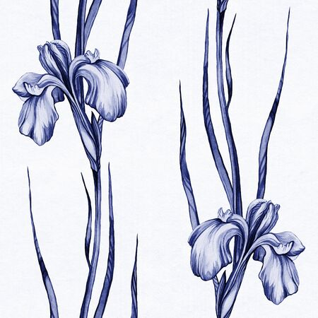 Watercolor pattern with spring iris flowers